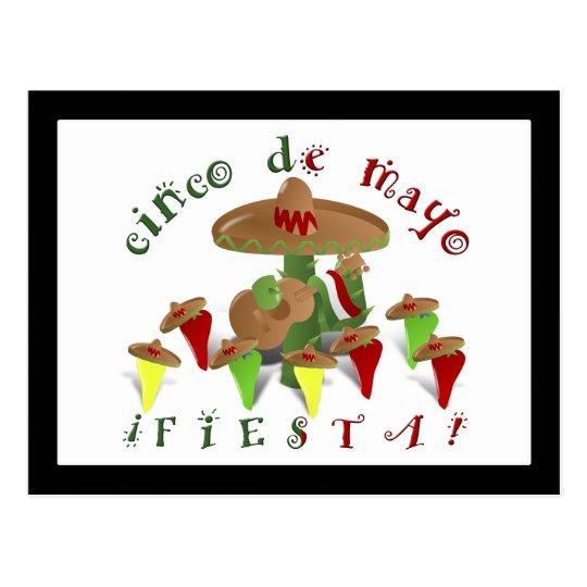 Fiesta Cactus with Guitar & Dancing Peppers Postcard