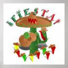 Fiesta Cactus with Guitar & Dancing Peppers Poster