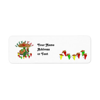 Fiesta Cactus with Guitar & Dancing Peppers Return Address Label