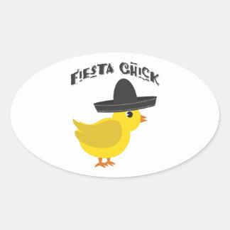 Fiesta Chick Oval Sticker