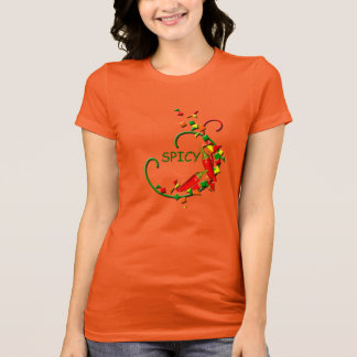Fiesta Chili Peppers Party Ladies Orange T-shirt