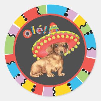 Fiesta Dachshund Round Sticker