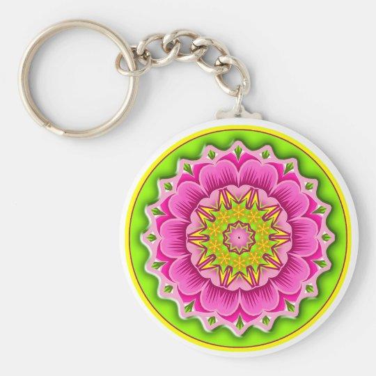 Fiesta Flower Round Basic Round Button Key Ring