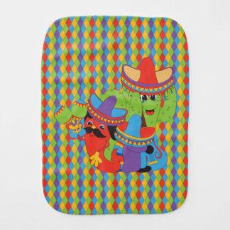 Fiesta Friends Mexican Guitarist, Cactus & Chili Burp Cloth