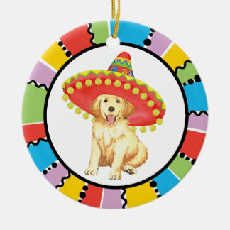 Fiesta Golden Retriever Christmas Ornament