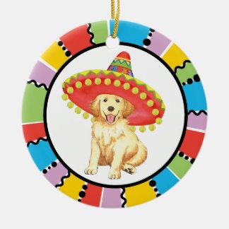 Fiesta Golden Retriever Round Ceramic Decoration