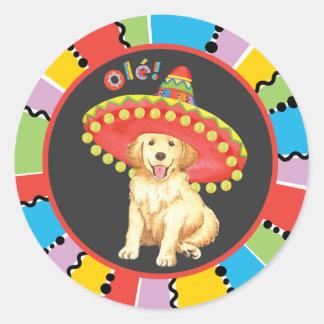 Fiesta Golden Retriever Round Sticker