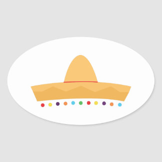 Fiesta Hat Oval Sticker