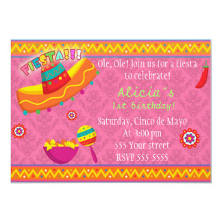 Fiesta Invitation Girl Birthday Party Mexican Pink