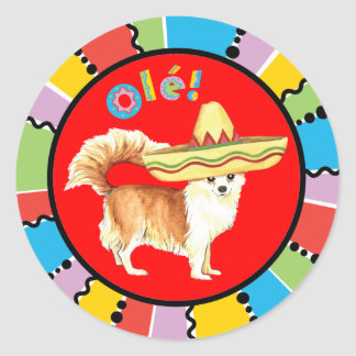Fiesta Long Coat Chihuahua Round Sticker