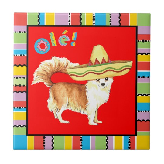 Fiesta Long Coat Chihuahua Small Square Tile