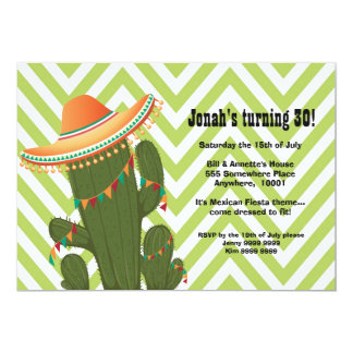 Fiesta Mexican Cactus Sombrero Party Invite