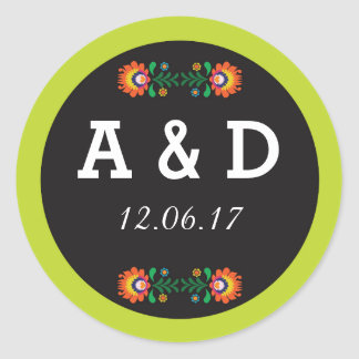 Fiesta Mexican Floral Round Stickers Label