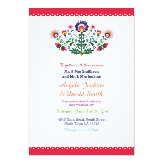 Fiesta Mexican Wedding Party Colourful Invitation