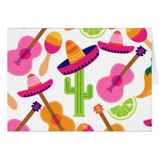 Fiesta Party Sombrero Cactus Limes Peppers Maracas Greeting Cards