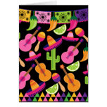 Fiesta Party Sombrero Cactus Limes Peppers Maracas Card