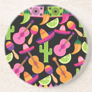 Fiesta Party Sombrero Cactus Limes Peppers Maracas Coaster
