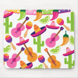 Fiesta Party Sombrero Cactus Limes Peppers Maracas Mouse Pad