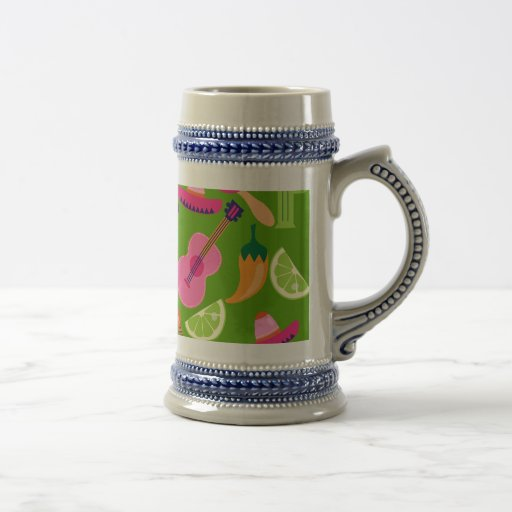Fiesta Party Sombrero Cactus Limes Peppers Maracas Coffee Mugs