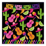 Fiesta Party Sombrero Cactus Limes Peppers Maracas Posters