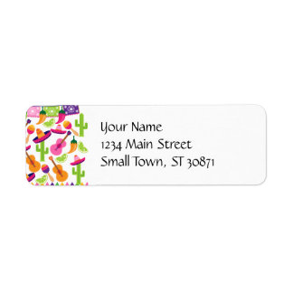 Fiesta Party Sombrero Cactus Limes Peppers Maracas Return Address Label