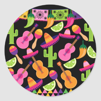 Fiesta Party Sombrero Cactus Limes Peppers Maracas Round Sticker