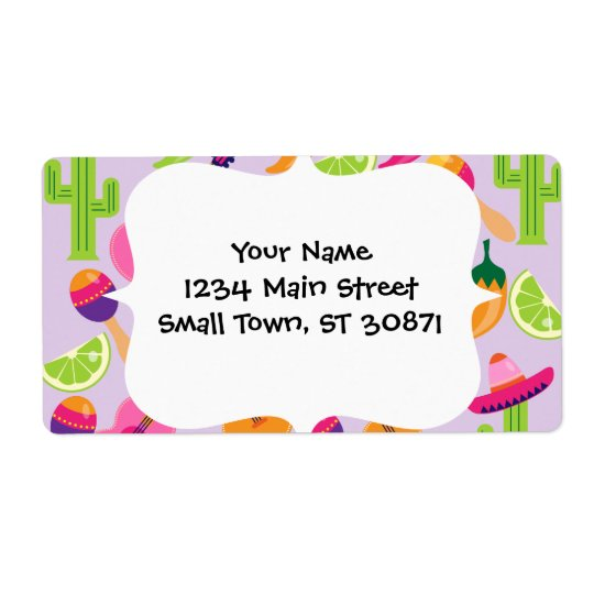 Fiesta Party Sombrero Cactus Limes Peppers Maracas Shipping Label