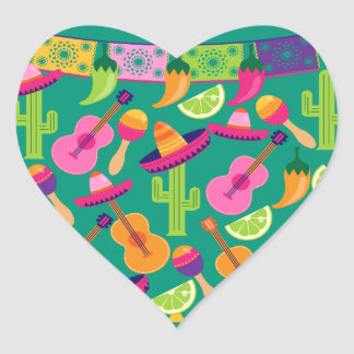 Fiesta Party Sombrero Limes Guitar Maraca Saguaro Heart Sticker
