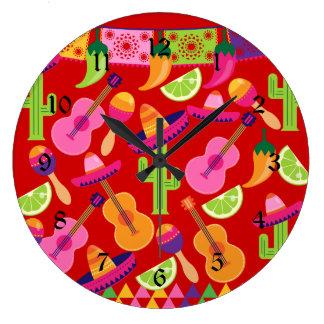 Fiesta Party Sombrero Limes Guitar Maraca Saguaro Large Clock