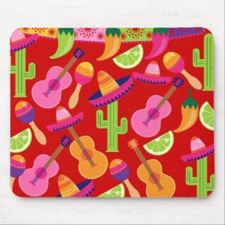 Fiesta Party Sombrero Limes Guitar Maraca Saguaro Mouse Pad