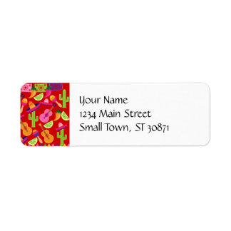 Fiesta Party Sombrero Limes Guitar Maraca Saguaro Return Address Label