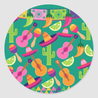 Fiesta Party Sombrero Limes Guitar Maraca Saguaro Round Sticker