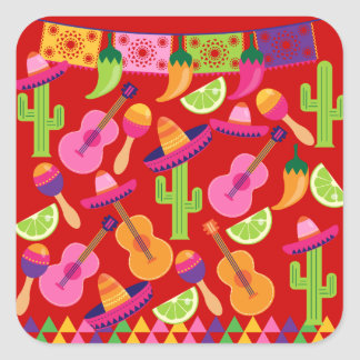 Fiesta Party Sombrero Limes Guitar Maraca Saguaro Square Sticker