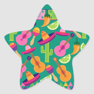 Fiesta Party Sombrero Limes Guitar Maraca Saguaro Star Sticker