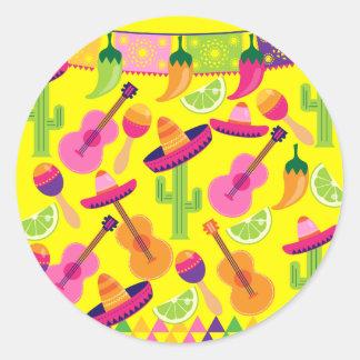 Fiesta Party Sombrero Limes Guitar Maraca Saguaro Round Stickers
