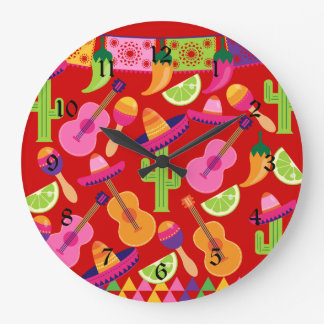 Fiesta Party Sombrero Limes Guitar Maraca Saguaro Wallclocks