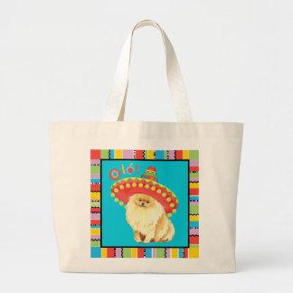 Fiesta Pomeranian Large Tote Bag