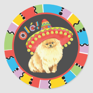 Fiesta Pomeranian Round Sticker