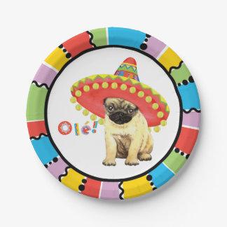 Fiesta Pug Paper Plate