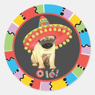 Fiesta Pug Round Sticker