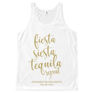 Fiesta Siesta Tequila Repeat Glitter Bachelorette All-Over Print Tank Top