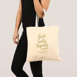 Fiesta Siesta Tequila Repeat Glitter Bachelorette Tote Bag