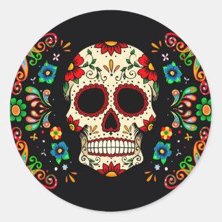 Fiesta Skull Round Stickers
