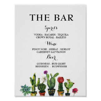 Fiesta The Bar Party Cactus Sign Engagement Shower