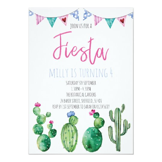 Fiesta themed birthday party invitation