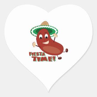 Fiesta Time Heart Stickers