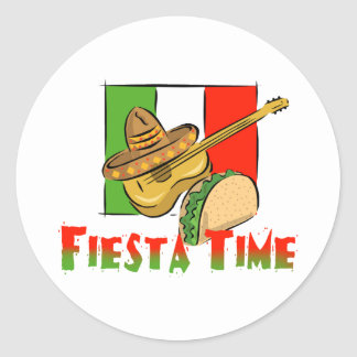 Fiesta Time Round Sticker