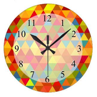 Fiesta Triangle Geometric Fractal Pattern Wall Clock
