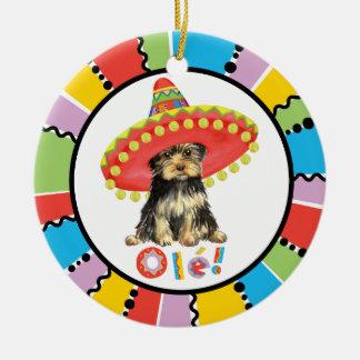 Fiesta Yorkie Round Ceramic Decoration