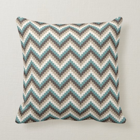 Fiesta Zigzag Chevron Pattern Taupe and Teal Cushion